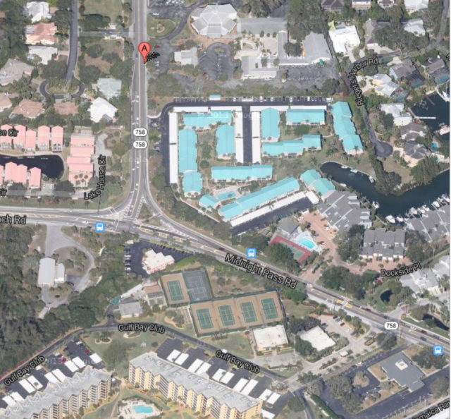 The roundabout was proposed for the intersection of Beach Road and Midnight Pass Road. Image from Google Maps
