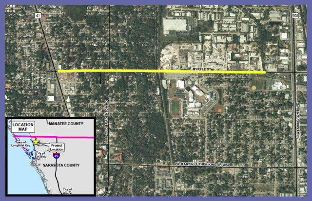 Phase 2 of the Myrtle Street improvements is underway. Image courtesy Sarasota County