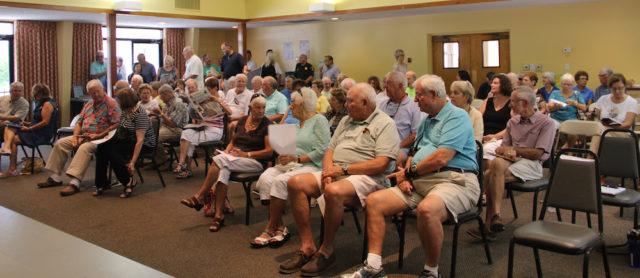 Audience members fill the Parish Hall at St. Boniface Episcopal Church. Rachel Hackney photo