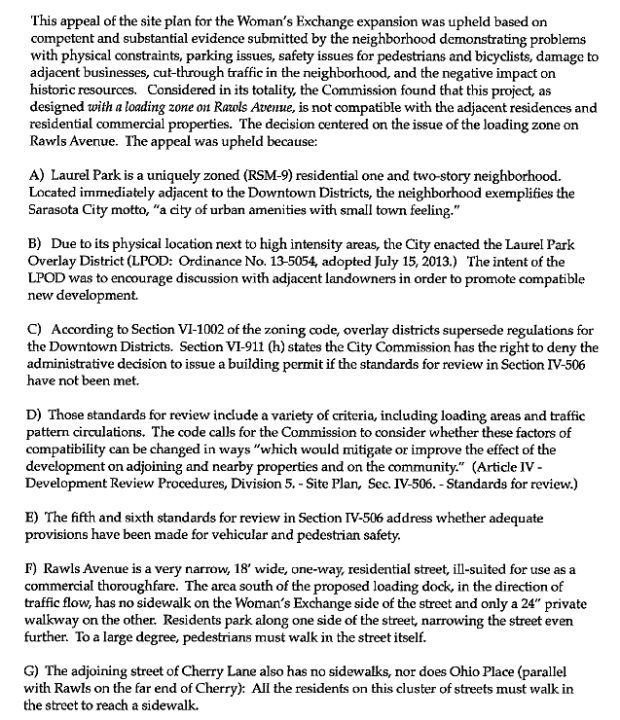 A section of the memo Kate Lowman provided the board lists some of the facts she asked to be incorporated into the resolution. Image courtesy City of Sarasota