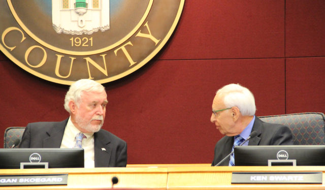 TAC Chair Morgan Skoegard (left) talks with Ken Swartz before the meeting begins. Rachel Hackney photo