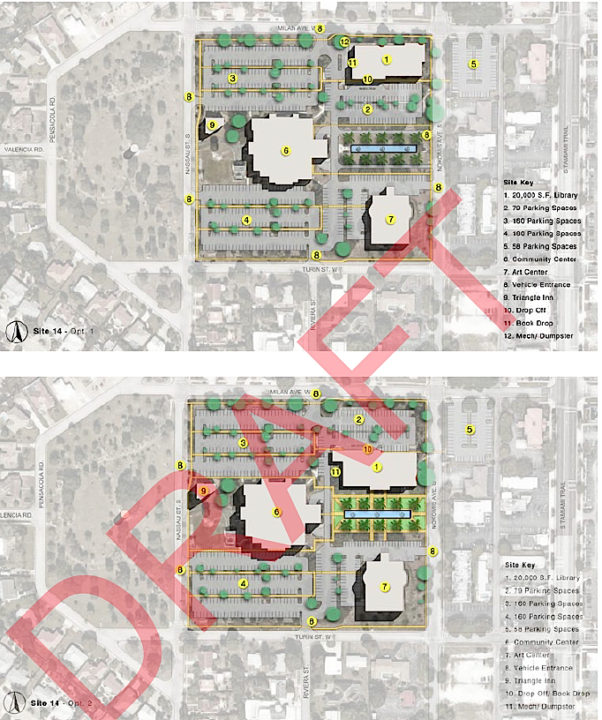A graphic prepared by Sweet Sparkman shows potential locations of the new library on the Cultural Campus. Image courtesy Sarasota County