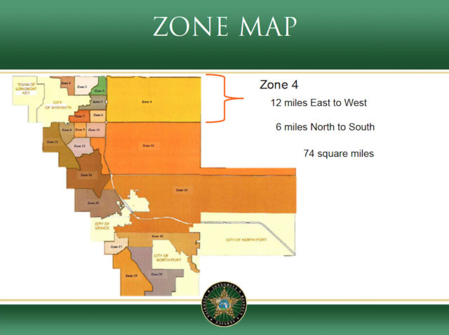 A graphic shows the new zone that will encompass the University Parkway corridor. Image courtesy Sheriff's Office