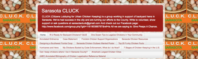 CLUCK's website banner points people to a variety of information. Image from the website