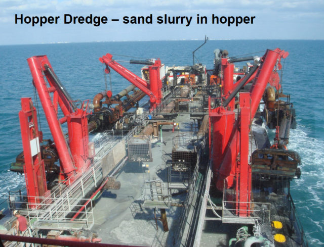 A photo shows one of the Weeks Marine hopper dredges. Image courtesy Sarasota County