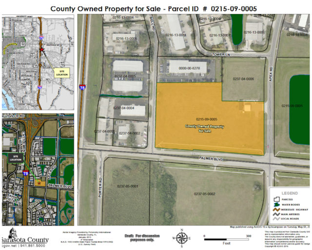 JMDH plans to build a distribution center on this 'Quad' site. Image courtesy Sarasota County