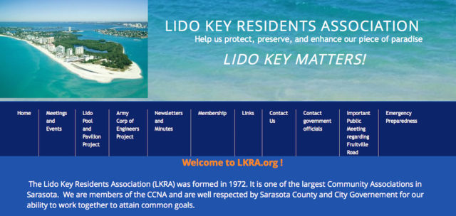 The Lido Key Residents Association website offers information about its concerns. Image from the website
