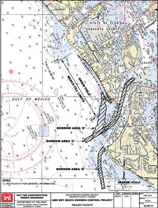 The project application shows the area of renourishment and the borrow areas in Big Pass. Image courtesy State of Florida