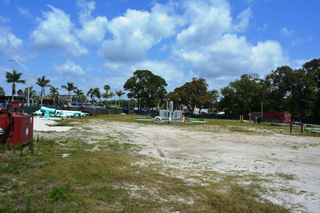 Project materials for Lift Station 87 site were visible in Luke Wood Park in April 2014. File photo