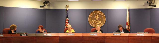 The Sarasota County School Board sits in session on July 19. Member Bridget Ziegler was absent. Rachel Hackney photo
