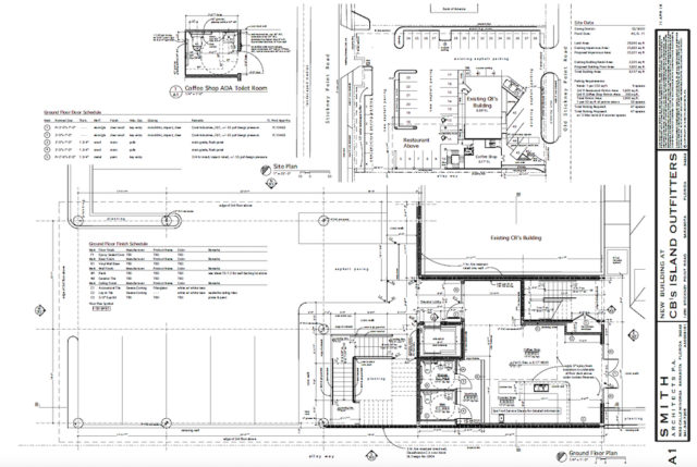 An engineering drawing shows plans with the coffee shop details. Image courtesy Sarasota County