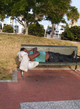 A City of Sarasota email exchange in May included this photo of an apparently homeless man in Bayfront Park. Image courtesy City of Sarasota