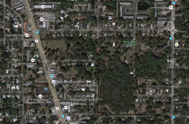 An aerial map shows the vacant property next to Water Tower Park. Image from Google Maps