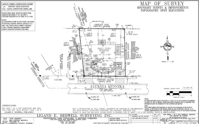 An engineering drawing shows construction details for the property. Image courtesy Sarasota County