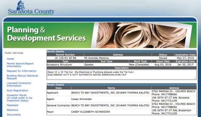 A webpage in the county's permitting records shows details about the tiki hut project. Image courtesy Sarasota County