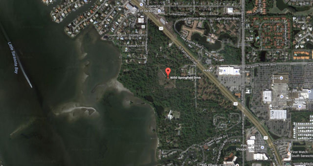 An aerial view shows the location of Bayonne Preserve on Little Sarasota Bay. Image from Google Maps