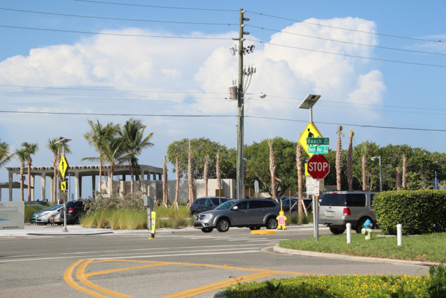 Beach Way intersects with Beach Road across from Siesta Public Beach. Rachel Hackney photo