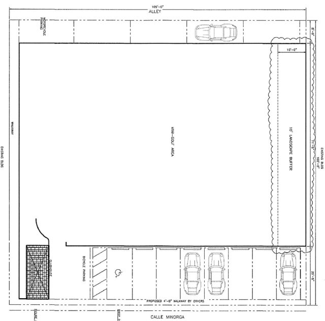 An engineering drawing shows how parking spaces could fit on the parcel. Image courtesy Sarasota County