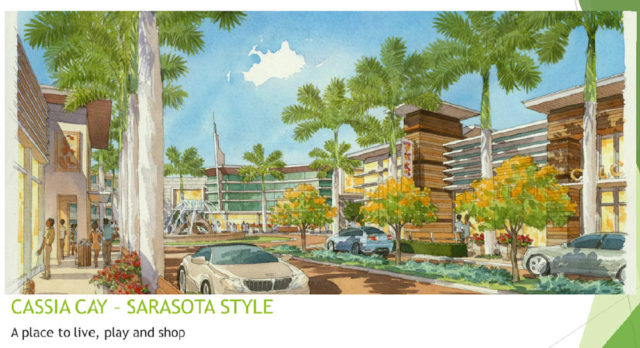 A rendering included with the application shows the mixed-use center of Cassia Cay. Image courtesy Sarasota County