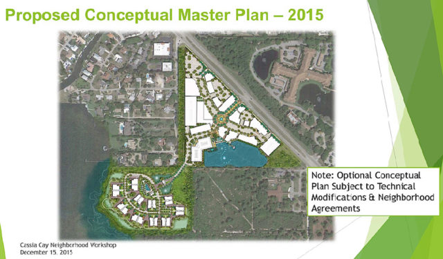 A graphic shows the plans for the mixed-use and residential developments on the Cassia Cay site, as proposed earlier this year. Image courtesy Sarasota County