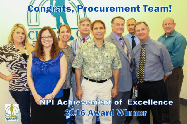 City Manager Tom Barwin applauds the work of the City of Sarasota Procurement Division staff members, who gather to celebrate their NPI recognition. Photo courtesy City of Sarasota