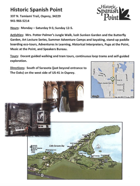 A flyer printed for the Family Field Trips program provided details about Historic Spanish Point. Image courtesy Sarasota County