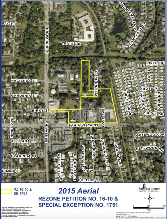 An aerial view shows the site (outlined in yellow) of the hotel proposed for Pinecraft. Image courtesy Sarasota County