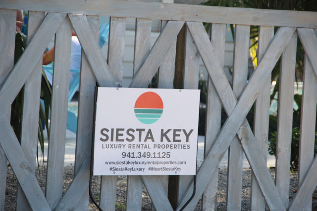 A rental sign hung on the gate of the 95 Avenida Messina property in early July. Rachel Hackney photo