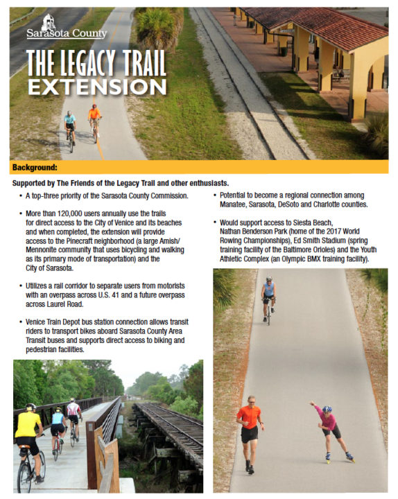 The front of the fact sheet offers an overview of the Trail. Image courtesy Sarasota County