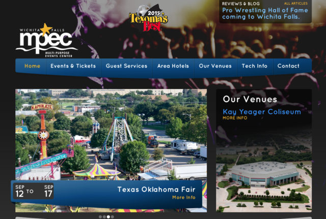 The MPEC website banner offers information about its venues and upcoming events. Image from the website
