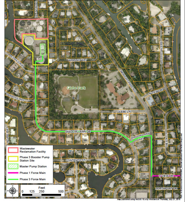 A map shows the route of the pipeline and the location of the upcoming work at the site of the Siesta Key Wastewater Treatment Plant. Image courtesy Sarasota County