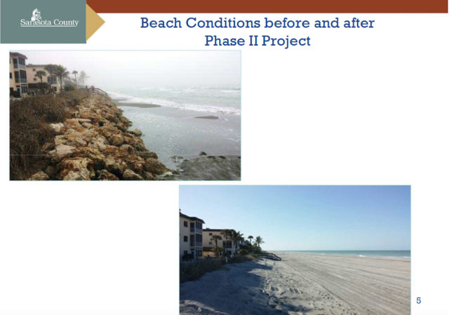 Before and after photos for the South Siesta Renourishment Project show a rock revetment that had been visible is covered again by sand. Image courtesy Sarasota County