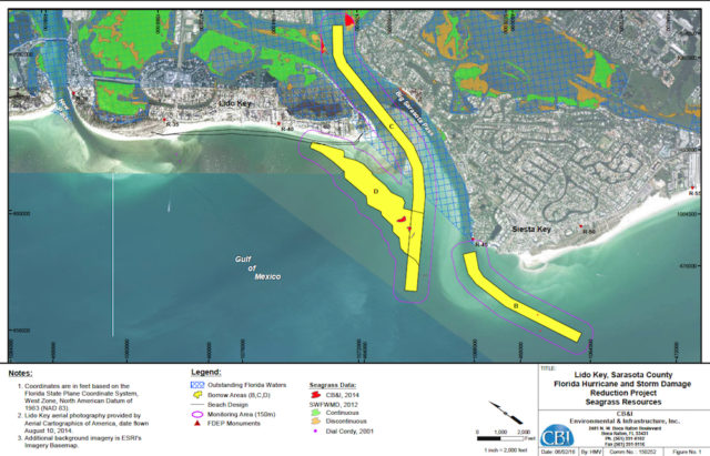 A graphic shows the areas where seagrass is expected to suffer negative consequences as a result of the Lido project. Image courtesy FDEP