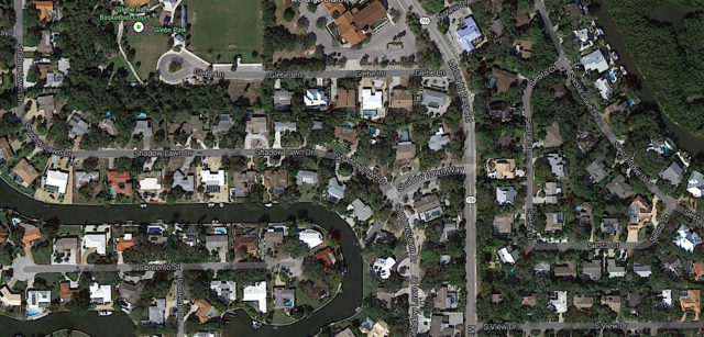 An aerial map shows Shadow Lawn Way and Shadow Lawn Drive in Siesta Isles. Image from Google Maps