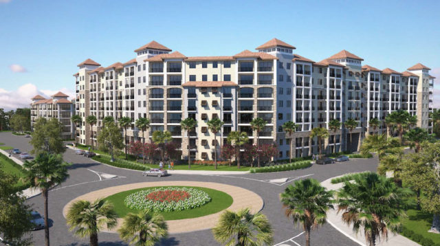 This rendering in Benderson's August application shows the type of residential structure planned for Siesta Promenade. Image courtesy Sarasota County