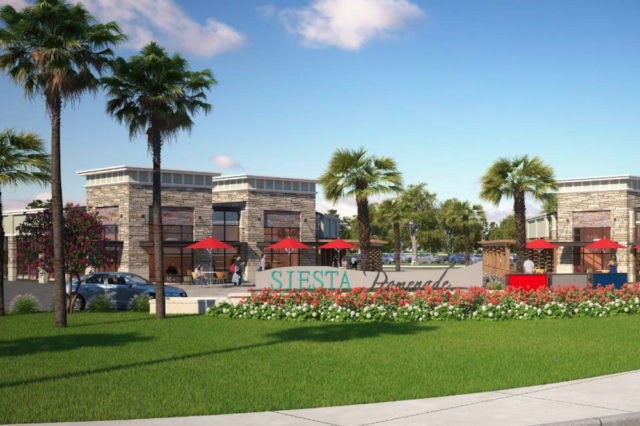 A rendering shows the concept for the retail portion of Siesta Promenade. Image courtesy Sarasota County