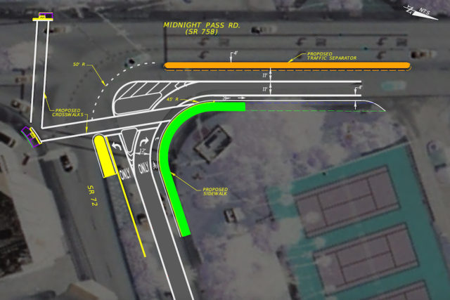 FDOT has provided this graphic showing the plans for the Stickney Point Road/Midnight Pass Road intersection. Image courtesy FDOT