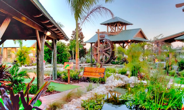 Extensive landscaping is used around the mini golf course, says Mike Driscoll, owner of The Fish Hole in Lakewood Ranch. Photo courtesy of Mike Driscoll