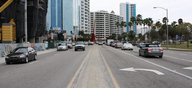 Traffic on Gulfstream Avenue heads east toward U.S. 41 in downtown Sarasota. Photo courtesy FDOT