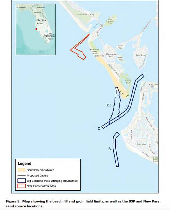 A graphic shows the borrow areas and project area, as presented in the draft Environmental Assessment. Image courtesy FDEP