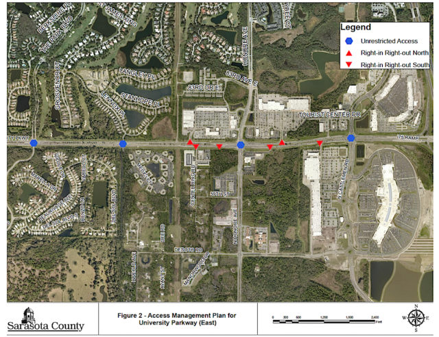 A graphic shows access points on Honore Avenue, including the one proposed for University Station. Image courtesy Sarasota County
