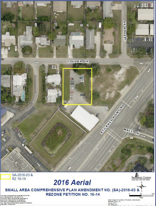 An aerial view shows the site of the project (in yellow). Image courtesy Sarasota County