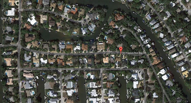 A red flag marks the site of the water main breaks. Image from Google Maps