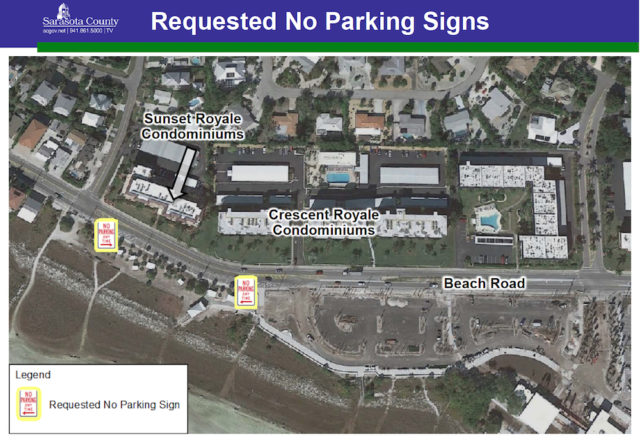 A graphic shows the area where the parking restrictions will be in effect. Image courtesy Sarasota County