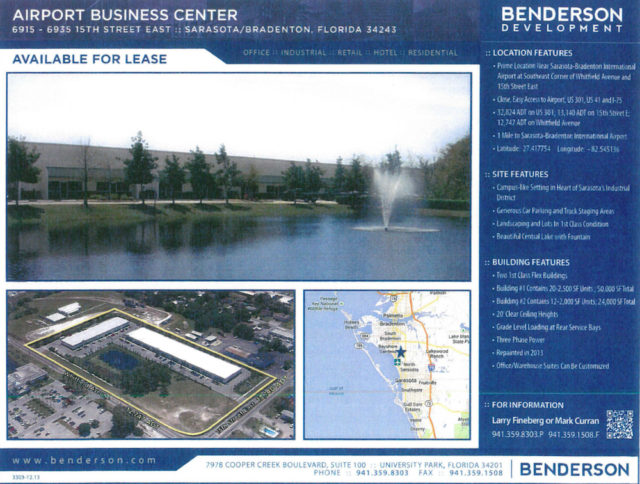 Backup agenda material shows this information about the Benderson facility north of the airport. Image courtesy City of Sarasota