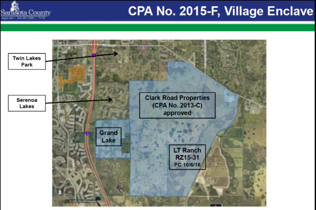 A graphic shows the proposed site of Grand Lakes adjacent to the Clark Road Properties development area. Image courtesy Sarasota County