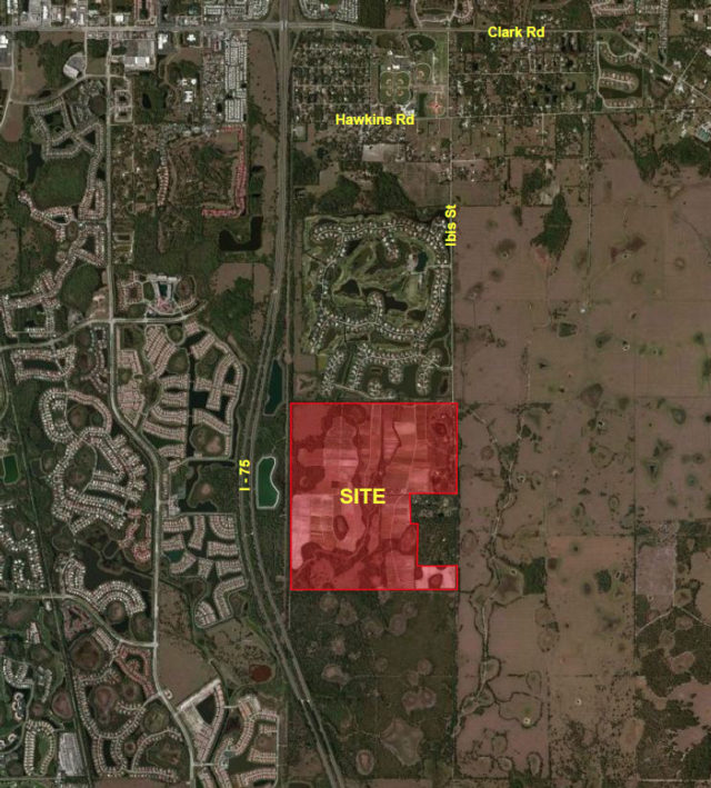 An aerial map shows the Grand Lakes parcel in red. Image courtesy Sarasota County