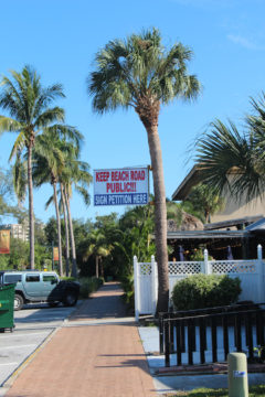 The Old Salty Dog restaurant, Blasé Cafe and Big Olaf's in Siesta Village have signs urging people to sign the petitions for the charter amendments. Rachel Hackney photo