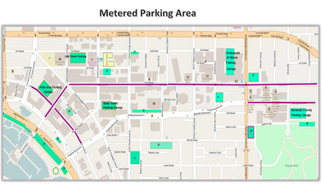 A second graphic shows another segment of the city with proposed free and metered spaces. Image courtesy City of Sarasota