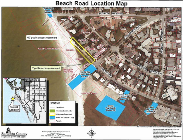 A county graphic shows facets of the area surrounding the North Beach Road vacation site. Image courtesy Sarasota County